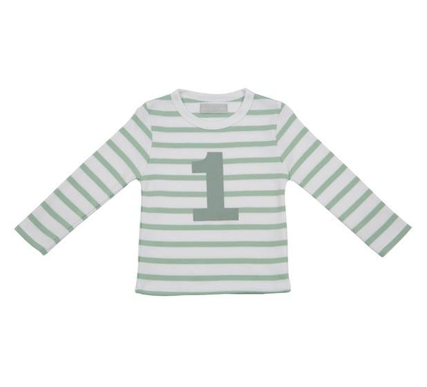 Seafoam & White Striped Number 1 T Shirt
