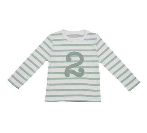 Seafoam & White Striped Number 2 T Shirt