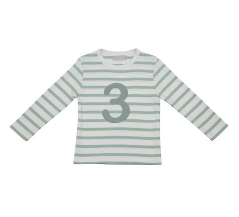 Seafoam & White Striped Number 3 T Shirt