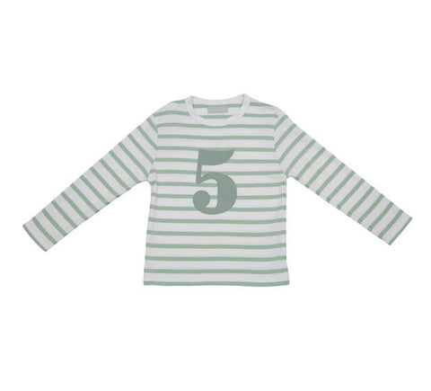 Seafoam & White Striped Number 5 T Shirt