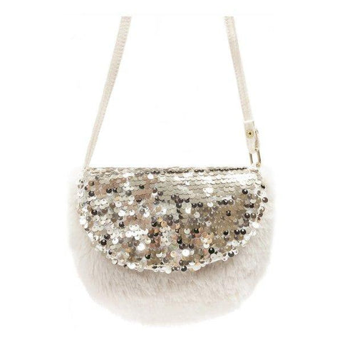 Sequin Fur Bag Biscuit