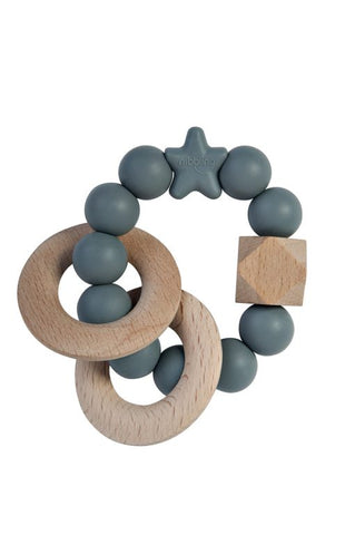 Stellar Natural Wood Rattle Ring in Grey