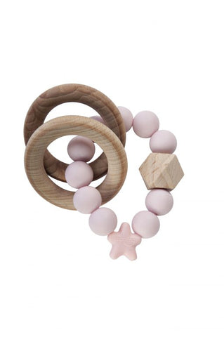 Stellar Natural Wood Rattle Ring in Pink