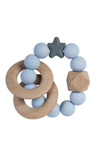 Stellar Natural Wood Rattle Ring in Blue
