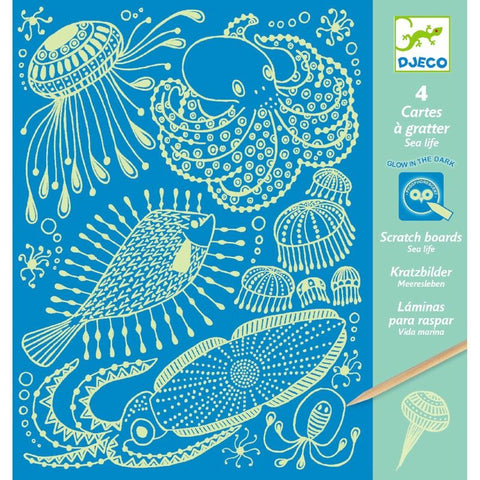 Glow in the Dark Scratch Boards - Sea Life