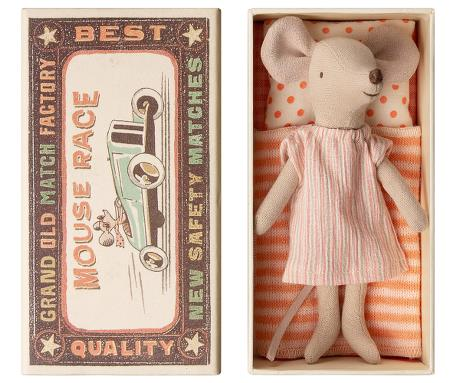 Big Sister Mouse In Box (narrow peach stripe dress)