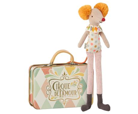 Stilt clown mouse in a suitcase