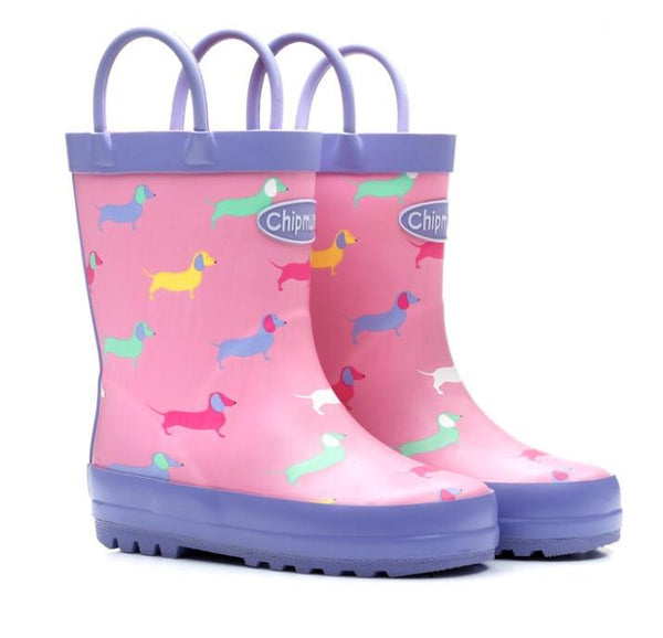 Harriet Pink Sausage Dog Wellies