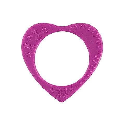 Heart Teething Bangle - Fuschia