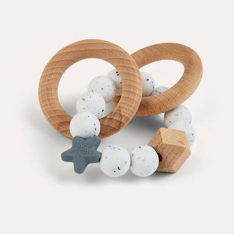 Stellar Natural Wood Rattle Ring in Speckled Grey/White