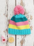 Pastel Stripe Bobble Hat