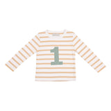 Biscuit & White Striped Number 1 T Shirt
