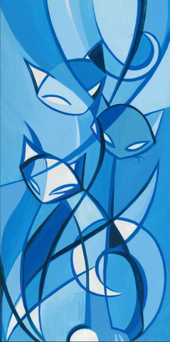 Tail of 3 Kitties (blues) 7x14 Giclee Print