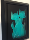Tail of Twin Kitties frosted blue wall-hanging Kitty Gem