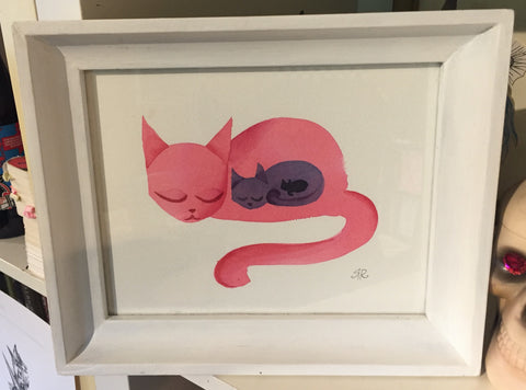 Kitty Watercolor of 3 generations of cats inside each other like they are pregnant. Largest cat is pink in a white frame
