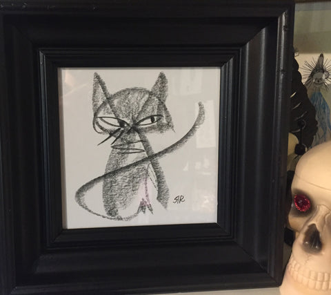 Buster Cat original graphite drawing