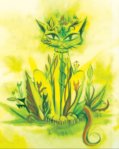 Garden Kitty Yellow 8x10 Giclee Print