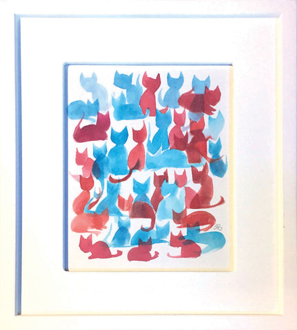 35 Kitties in Red and Blue (original painting)