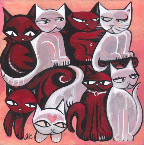 "This is an original acrylic painting on wood by Emily the Strange Creator Rob Reger. It features alternating black and white cats all puzzle pierced together with various expressive eyes. It measures 8"" x 8"" and is signed by the artist."