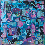 40 Cats In 4 Directions #3 12x12 Giclee Print