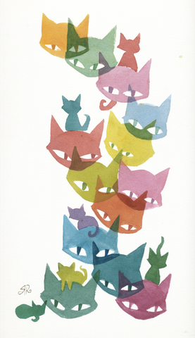 Color Kittens Cluster Original Watercolor