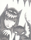 black and white graphite drawing of Emily the Strange with cat ears and eyes in her hair above the shine. her hand is claw-like and she has fangs. next to her is a cat with curly eyebrows, fancy eyeliner, and a spiky tail. 4 stalactites hang above them.