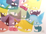 CatCon Color Kittens Original Watercolor