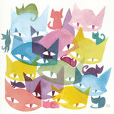 watercolor painting on textured paper, 11 stylized cat heads overlapping in different colors, 9 small stylized cat silhouettes nap and play among the heads