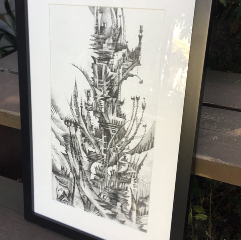 A graphite drawing of a tower sprouting off in many directions, black and white in color, with a white mat and a simple black frame leaned against a wooden staircase behind which plants lurk