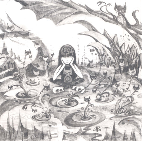 Emily sits cross-legged with her head resting in her hands and one eye open in a fanciful bog blooming with kitty plants. a large rock formation juts out over emily's head and the bottom of the drawing is lined with spiky grasses.