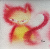 seated yellow cat in watercolor with red outlines and tail. mildly grumpy expression and swirly tail. signed in bottom right