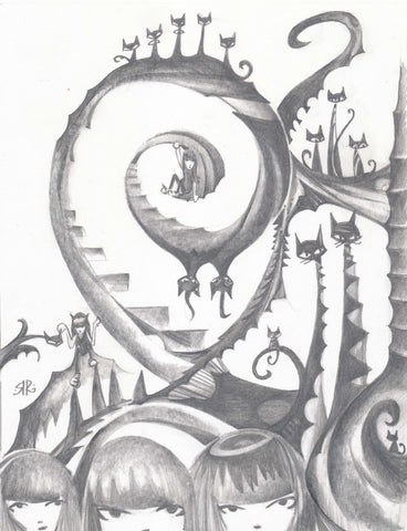 graphite drawing. one big staircase vine creates a spiral in the center of the page. a row of kitties sit on top. three Emily heads peek up from the bottom and on the right are more kitties and pillars of stairs. signed in the bottom left quadrant.