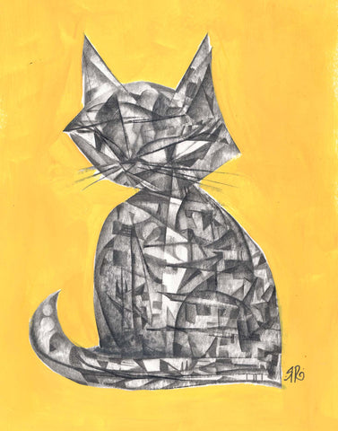 layered graphite drawing of  a cat sitting upright  with  a mosaic-like texture of various angles and curves. the background is painted bold yellow and the image is signed by Rob Reger