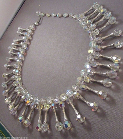 Vintage Crystal Drop Dangle Collar Necklace 1.5""