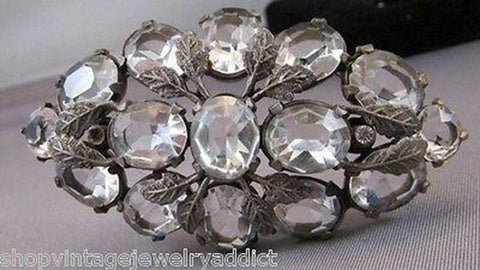 Art Deco Clear Cut Glass Crystal Bezel Set Large Flower Brooch Pin PAT PEND