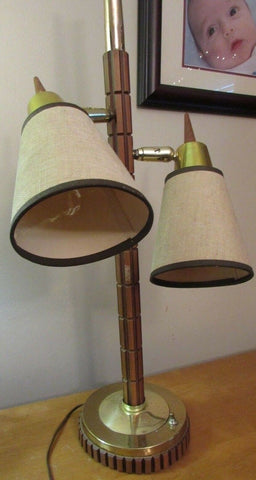Vintage Fiberglass & Wood Cone ShadeMid Century MODern Table Lamp