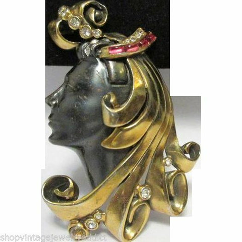 Rare Vintage Rhinestone Show Girl Brooch Pin LARGE Figural DECO Face