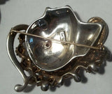 Vintage STERLING Rhinestone Face Brooch Figural Woman 1940s Rare Beauty 47g