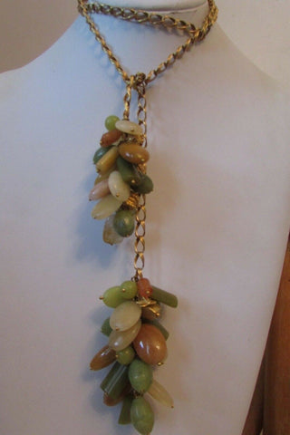 High End Sterling Silver Gold Vermeil Lariat Gemstone Necklace UNUSUAL 1960's