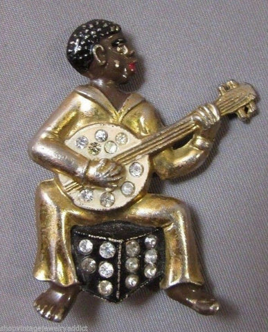 1930s Enamel Rhinestone Blackamoor Man Folk Banjo Player Brooch Pin Figural