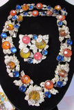 Vintage Sterling Art Deco Rhinestone Fruit Salad Glass French Necklace Set Rare