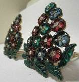 Vintage PAIR 1920's Dress Fur Clip Brooch Rhinestone Fruit Salad Glass Flower