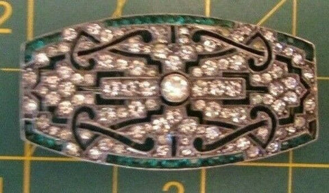 Vintage Sterling Silver 935 German ART Deco Sparkling Clear & Emerald Brooch