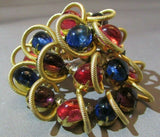 Vintage MASSIVE Scaasi ALL Glass Cabochon Stacked Brooch Pin Rhinestone