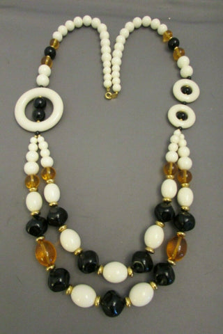 Vintage Trifari Lucite White Brown Black MODernist Necklace