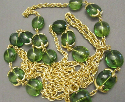 "Vintage Crown Trifari Green 54"" Necklace"