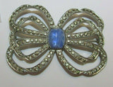 Vintage Clear Paste Rhinestone Center Blue Glass Bow Large Late 30s