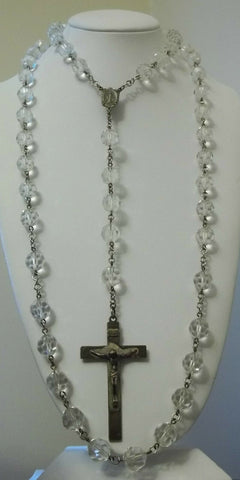 "HUGE Vintage Art Deco Sterling Silver Crystal Rosary Crucifix Necklace 50"" 180g"