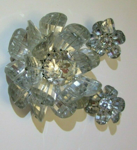 Vintage Vendome Flower Brooch & Earring Set Bracelet 3-D Glass Figural Set