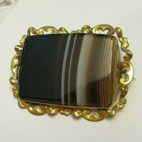 Vintage Victorian Agate Brass Pin Brooch Large